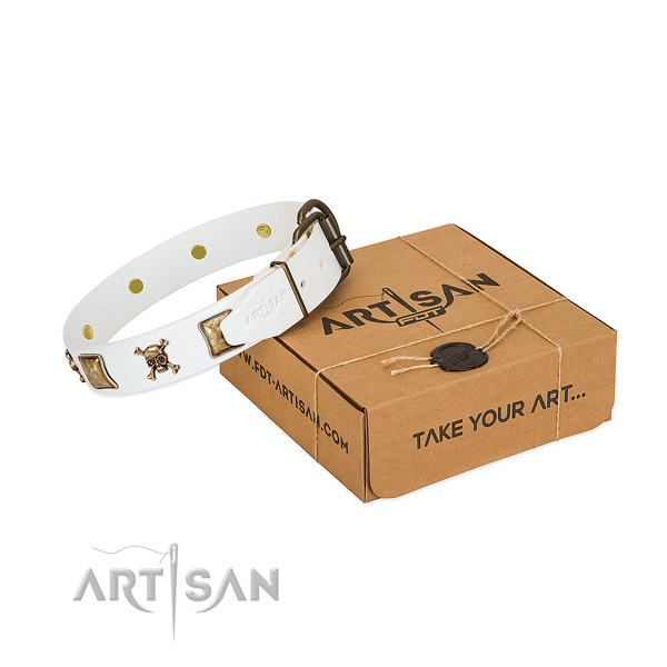 Stylish walking reliable full grain natural leather dog collar with studs
