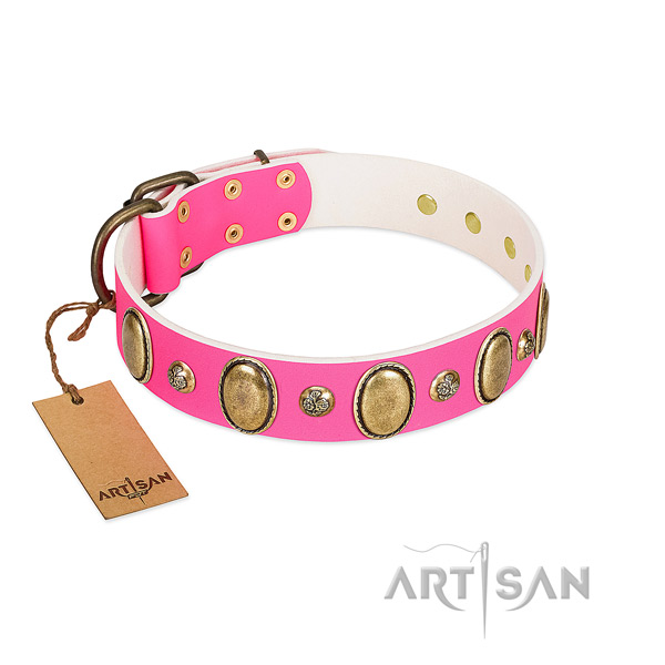 Fancy walking soft to touch natural genuine leather dog collar with embellishments