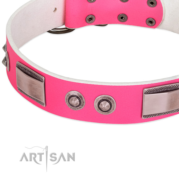 Easy to adjust leather collar with studs for your canine
