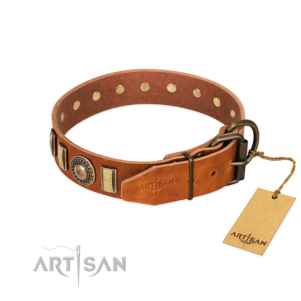 Top notch genuine leather dog collar with corrosion resistant traditional buckle