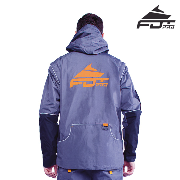FDT Pro Dog Training Jacket of Grey Color with Reliable Side Pockets