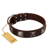 """Nut-Brown Finery"" Embellished FDT Artisan Brown Leather German Shepherd Collar with Chrome Plated Crossbones and Plates"