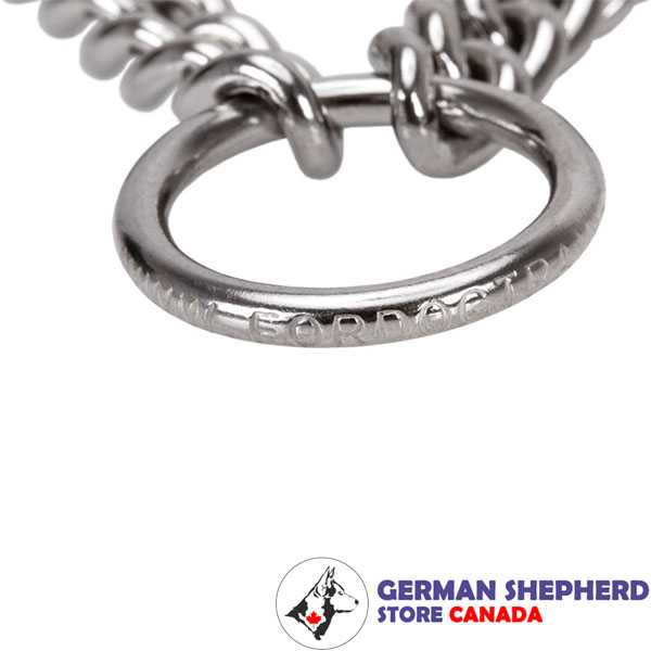 Stainless steel dog prong collar with reliable O-ring