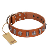 """Luxurious Necklace"" FDT Artisan Tan Leather German Shepherd Collar with Silver-Like Adornments"