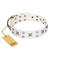 """Star Patrol"" FDT Artisan White Leather German Shepherd Collar Adorned with Stars and Studs"