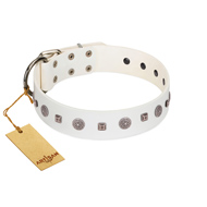 """Drops on Snow"" Handmade FDT Artisan White Leather German Shepherd Collar Adorned with Silver-Like Studs"