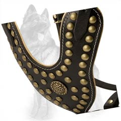 Y-Shape Leather German-Shepherd Dog Harness Decorated  With Brass Studs