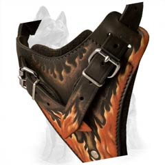 Fire Flames Painted Chest Plate of German Shepherd Harness