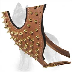 Leather German Shepherd Harness Chest Plate with Brass Spikes