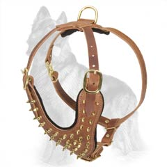 Leather German Shepherd Harness with Strong Brass Ring