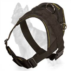 Nylon German Shepherd Harness with Wide Back Plate