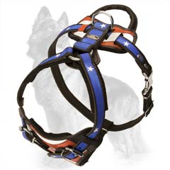 Leather German Shepherd Harness Painted with American Pride