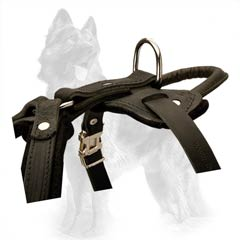 Leather German Shepherd Dog Harness With Handle And  Durable Steel Ring
