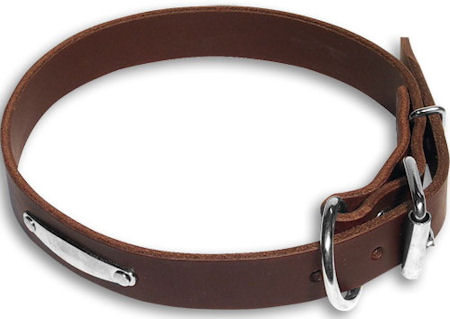 Dog Name ID Plate Brown collar 25'' for GSD /25 inch dog collar-C456