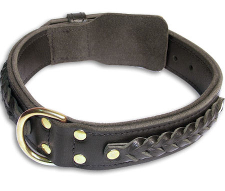 Leather Braided black collar 26'' for Alsatian Dog/ 26 inch dog collar-C55s33