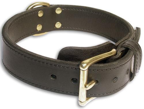 Leather Black collar 24'' for Alsatian Dog /24 inch dog collar-c33nh