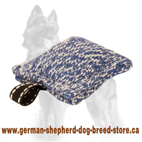 Compact French Linen German Shepherd Bite Tug with Small Loop