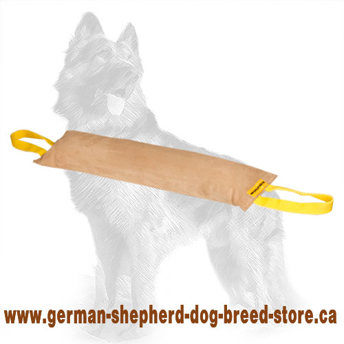 Large Leather German Shepherd Bite Tug with Two Handles