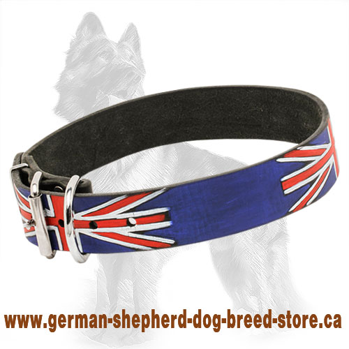 United Kingdom Pride Painted Leather German Shepherd Collar