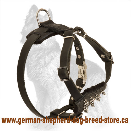 Spiked Leather German Shepherd Harness for Puppy