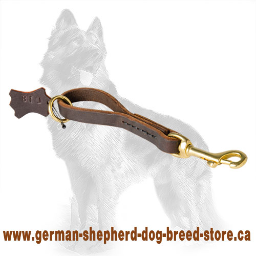 Pull Tab Leather German Shepherd Leash/Handle with Floating Ring