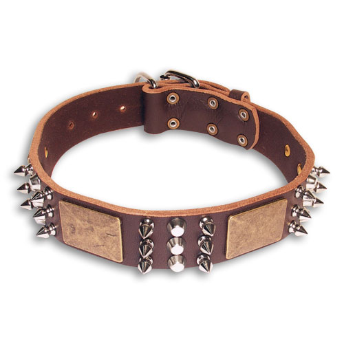 Leather Spiked  Brown collar 25'' for GSD /25 inch dog collar-C86