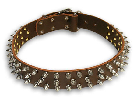 Leather Spike Brown collar 25'' for Alsatian Dog/ 25 inch dog collar-S44