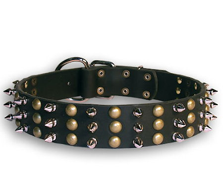 Leather Studded and Spikes Black collar 27'' for Alsatian Dog /27 inch dog collar-S59