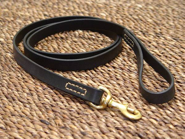 Leather dog leash stitched, 3/4 inch on 6 foot DOG LEASH