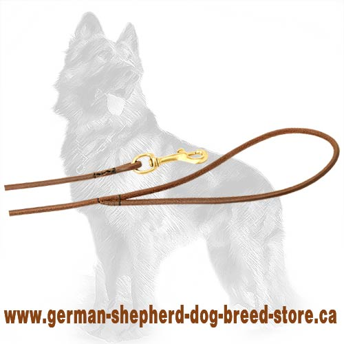 Round Leather German Shepherd Leash with Strong Brass Snap Hook