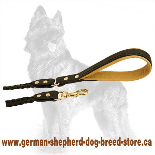 Braided Leather German Shepherd Dog Leash Equipped With  Durable Brass Fittings
