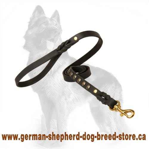Stylish Leather German-Shepherd Dog Leash With Handle And  Brass Fittings