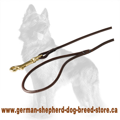 Round Leather German-Shepherd Leash with Comfortable Handle and Brass Snap Hook