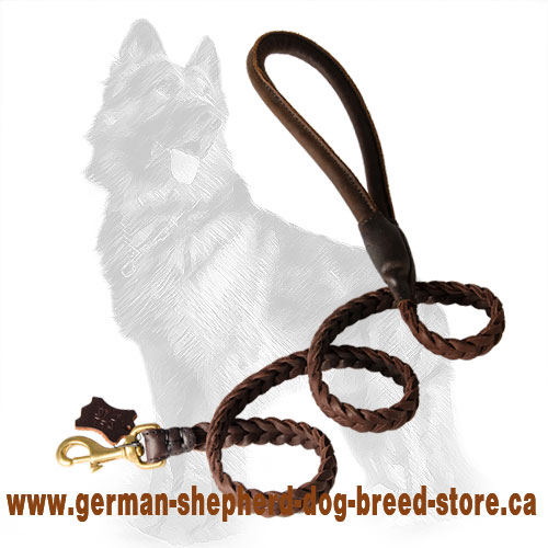 Braided Leather German-Shepherd Leash Reliably Stitched