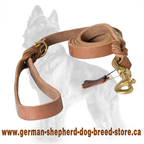 Stitched Braided Leather German Shepherd Leash with Brass Snap Hook and D-ring
