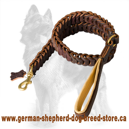 Braided Leather German Shepherd Leash with Nappa Padded Handle
