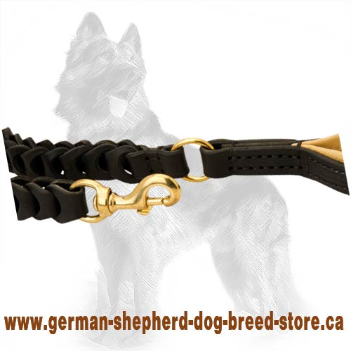 Braided Leather German Shepherd Leash with Brass Snap Hook and Connecting O-ring