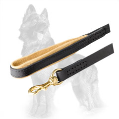 Leather German Shepherd Leash with Hand Stitched Fittings and Handle
