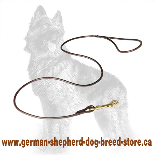 6 mm Wide Round Leather German-Shepherd Leash for Dog Shows
