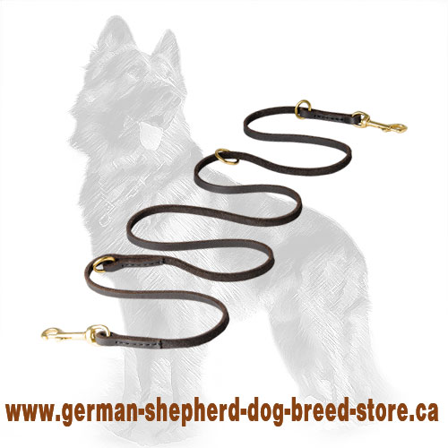 Multifunctional Leather German Shepherd Leash with Brass Fittings