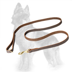 Stitched Leather German Shepherd Leash 6 FT Long