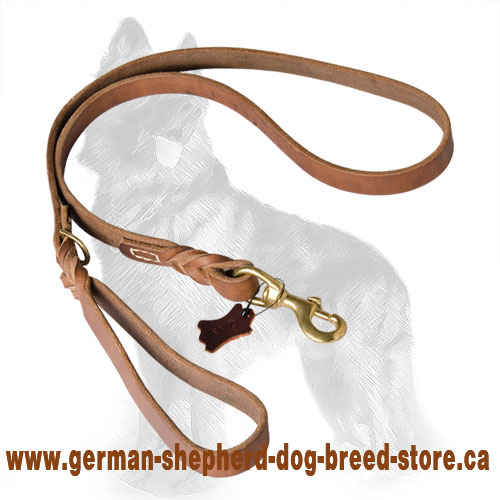 Upgraded Leather German Shepherd Leash Decorated with Braids