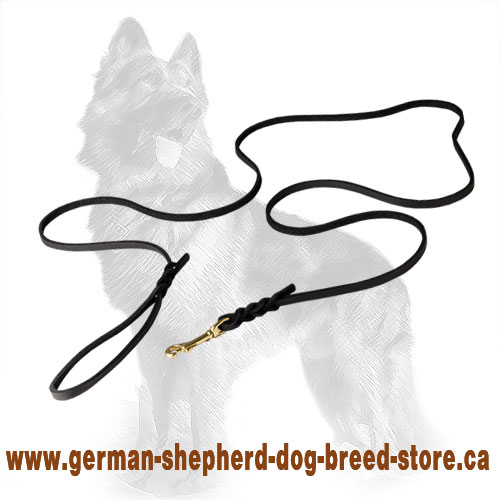 Braided Leather German-Shepherd Leash for Dog Shows