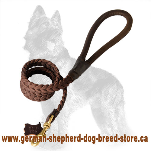 Leather German-Shepherd Leash with Comfortable Round Handle