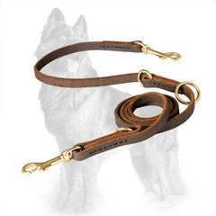 Leather German Shepherd Leash with Several Modes
