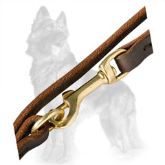 Leather German Shepherd Leash with Solid Brass Hardware