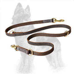 Leather German Shepherd Leash with Reliably Stitched Fittings