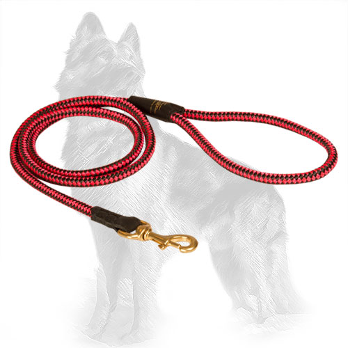 Red Nylon Cord German-Shepherd Leash with Strong Handle