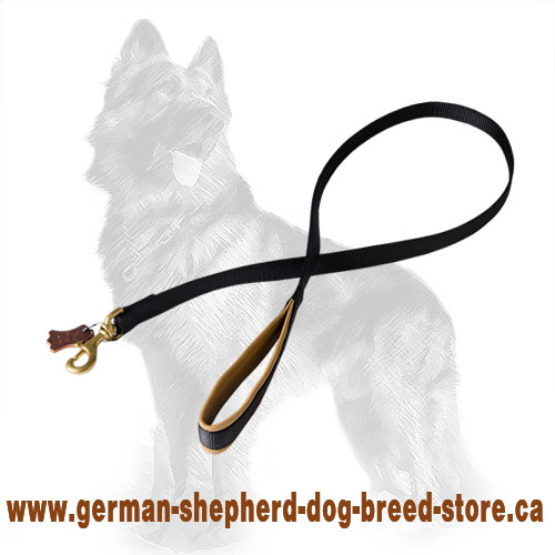 Nylon German Shepherd Leash Padded with Brass Snap Hook