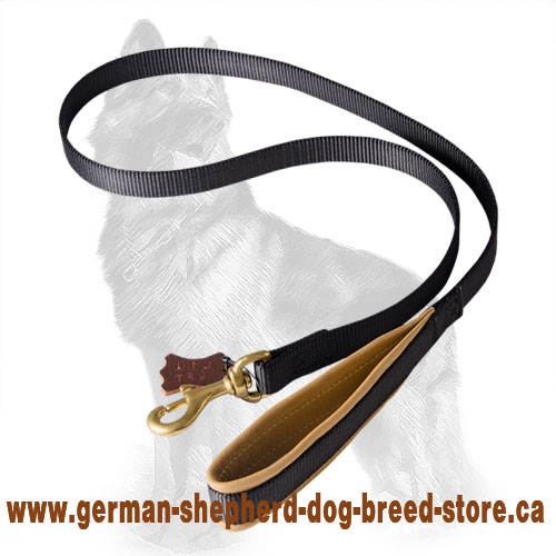 Nylon German Shepherd Leash with Leather Padded Handle